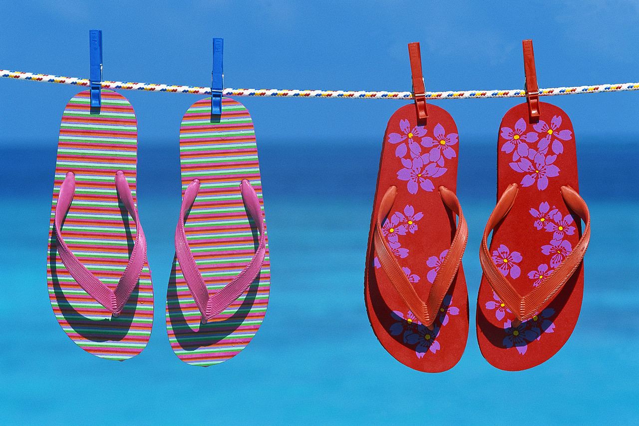 Sandals Drying on Clothesline